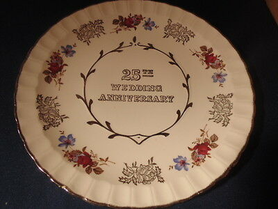 25Th Anniversary Plate,silver Trim,red Flowers