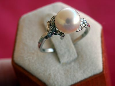 Mikimoto Sterling Silver Swerling Leaves 7mm Pearl Ring Size 7.25