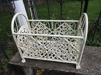 Vintage Antique Bathtub CAST IRON Ornate CLAW FEET Magazine/Towel Holder
