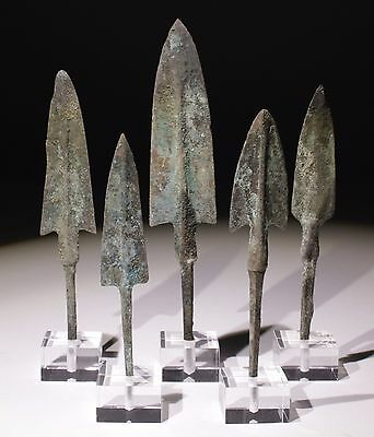 Set Of 5 X Museum Quality Bronze Age Arrowheads Luristan,persia 1200-800Bc