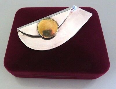 Vtg 925 Sterling Silver Mixed Metal Modernist Pin Taxco Mexico Signed Tve Tv-114
