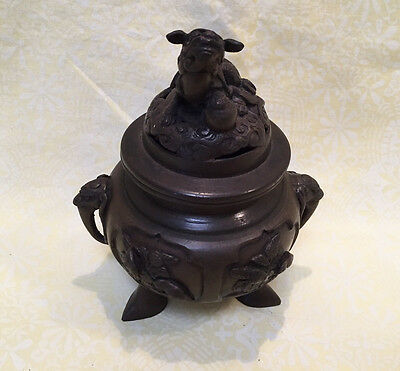 Vintage Chinese Asian Bronze Foo Dog Incense Burner