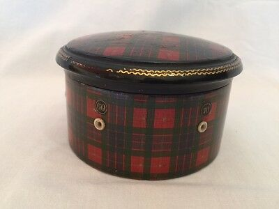 Antique Scottish Tartan Spool Box with Needle, Thimble and Clark's Thread
