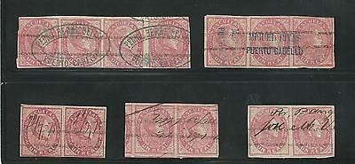Venezuela: 1871-1879, lot of pairs, strip of 3, strip of 4 of stamps... VE1227