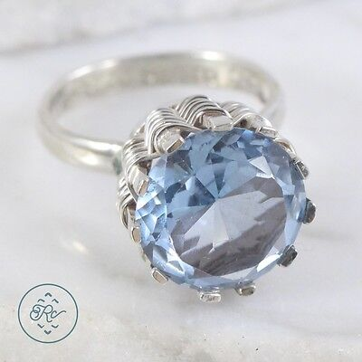 Vintage Sterling Silver | MEXICO Round Cut Blue Crystal 6.3g | Ring (7.5) MW0053