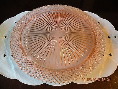 Vintage Pink Miss America 3 Footed Cake Plate / Hocking Glass Co