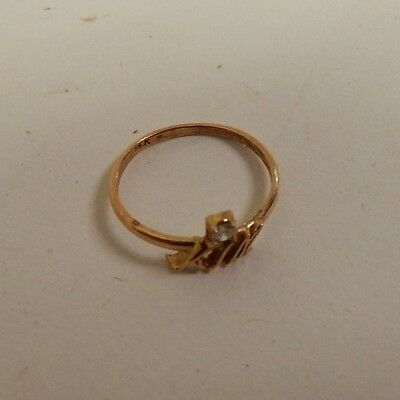 14k Gold and Diamond Child / Infant Ring - Says KIM - 0.4 Grams