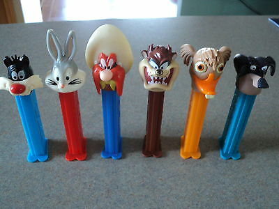 LOT OF SIX USED PEZ Candy Dispensers