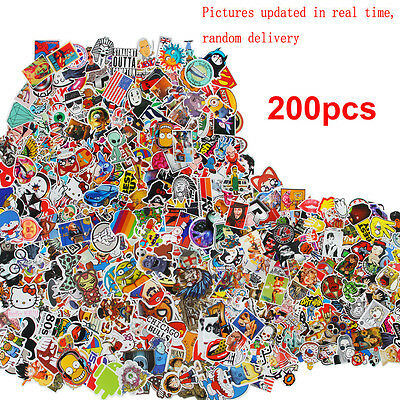 lot Waterproof Stickers Skateboard Graffiti Laptop Luggage Car Decals  200pcs