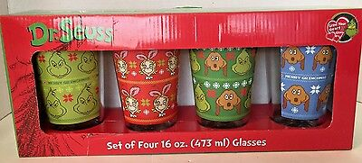 New Set of Four 16oz Dr Seuss Grinch Christmas Drinking Glasses