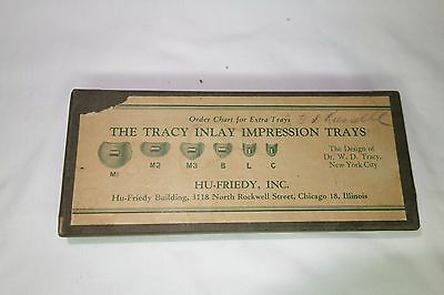 Antique Dental Collectible Inlay Tracy Impression Trays With Box By Hu-Friedy