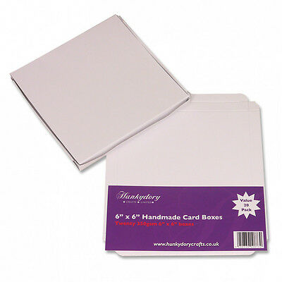 """Hunkydory Handmade Luxury Card Boxes 350gsm White - Pack of 10 6""""x6"""" Square"""