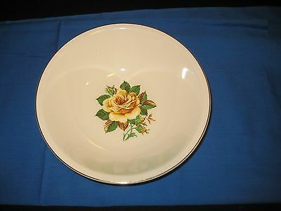 1950's Paden City Pottery American Rose Yellow Rose Gold Rim H51 Serving Bowl 9""