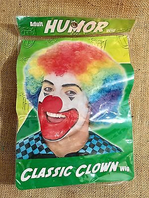 Halloween Clown Costume Wig Accessory Adult Size Rainbow Multi color NEW