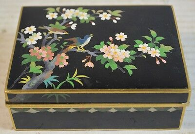 Vintage Inaba Japanese Cloisonné Box with Birds