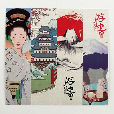 Pack of 30 Japanese bookmarks of geishas, flowers, scenery and cats #B0007