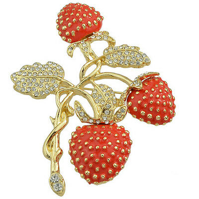 Elegant Red Strawberries Crystals Golden Leaves Style Pin Brooch Women Jewelry