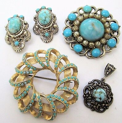 Large vintage gold metal & turquoise paste brooch + earrings + pendant + 1