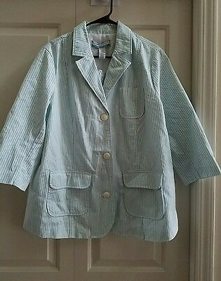 NEW xl 14 16 maternity summer  blazer jacket. 3/4 sleeve modern light blue white
