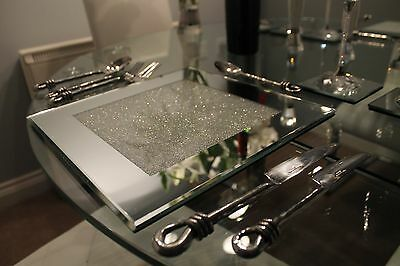 New Set Of Six Mirrored Placemats With Swarovski Crystals Dining Table SECONDS