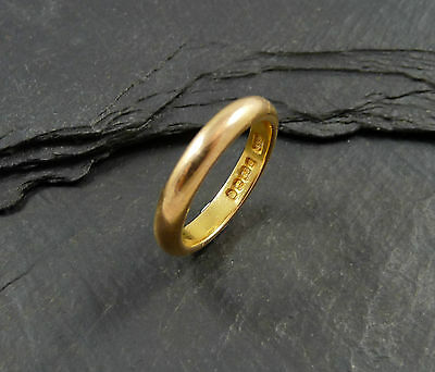 Vintage 22ct Gold Wedding Band Ring - Hallmarked 1953 - UK Size I -  4.9g