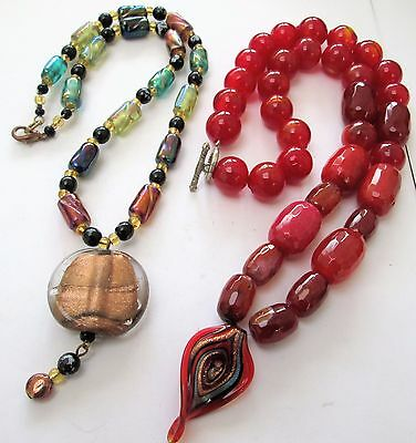 Stunning vintage large carnelian glass bead necklace + 1