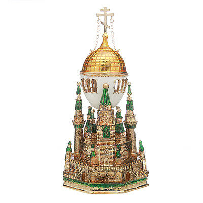 Russian Faberge Egg / Music Box / Trinket Jewel Box Moscow Kremlin 6.3'' green
