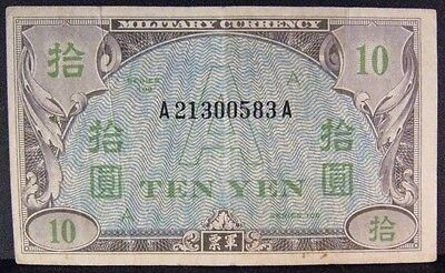 "1946 Japan, 10 Yen Military Currency Note,""A"" Circulated** FREE U.S. SHIPPING **"
