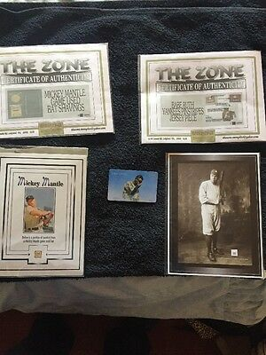 Babe Ruth, Mickey Mantle And Henry Louis Gehrig Real Memorabilia With COAs