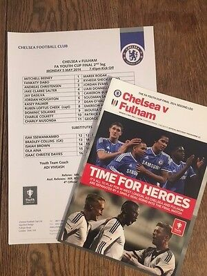 Chelsea v Fulham 5/5/2014 Youth Cup Final and Teamsheet MINT