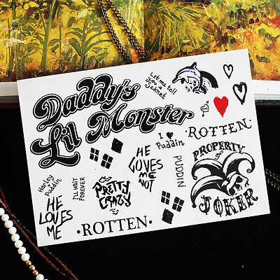 Suicide Squad the Harley Quinn Temporary Tattoo Spray Stickers Waterproof