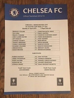 Chelsea v Manchester City (Man) 27/4/2015 Youth Cup Final Teamsheet MINT