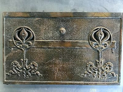 Antique Cast-Iron Fire Place Summer Cover flame Door Salvage Repurpose 20x12