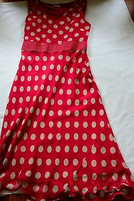 Country Casuals Pink Polka Dot Silk Dress Size 14