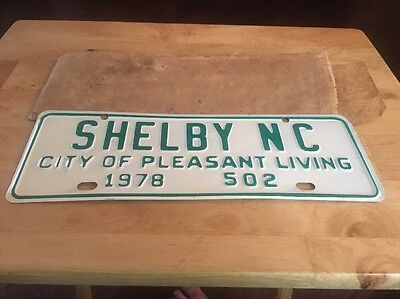 Vintage 1978 Shelby City Pleasant Living License Plate Car Tag Shelby Nc No. 502