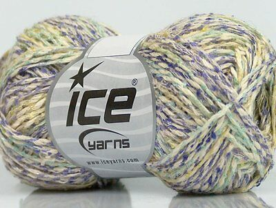 Lot of 8 Skeins Ice Yarns SALE SUMMER (82% Cotton) Yarn Cream Lilac Mint Green