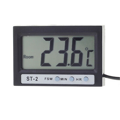 """Mini Digital 1.9"""" LCD Indoor Outdoor Thermometer Meter with Clock Function"""
