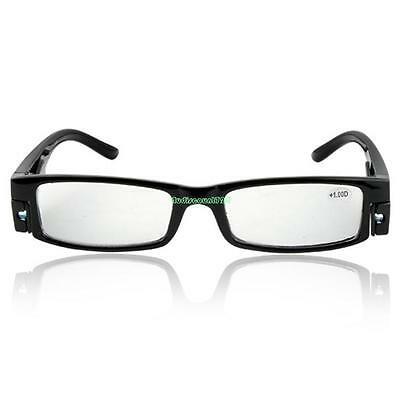 LED Light Reading Glasses Reader Lightweight Black Frame Magnifier Diopter +1.0