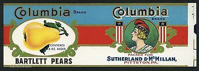 COLUMBIA Brand, Pittston Pennsylvania *AN ORIGINAL 1930's TIN CAN LABEL* 8oz C04