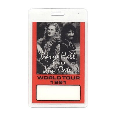 Hall & Oates authentic 1991 concert tour Laminated Backstage Pass Daryl John