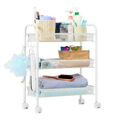 LANGRIA 3-Tier Rolling for Serving Utility Organization Kitchen Cart, White, New