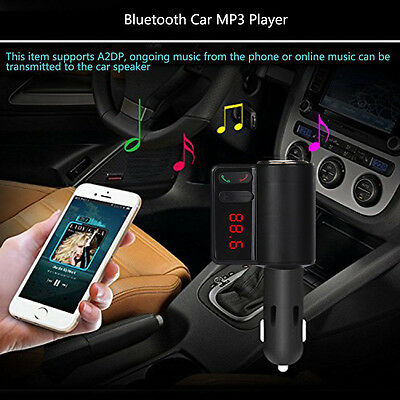 Wireless Bluetooth LCD MP3 Player Car Charger Kit 2 USB FM Transmitter Modulator