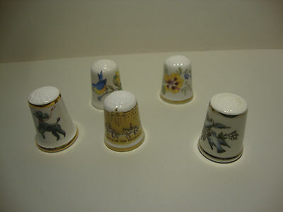 5 Mixed Thimbles Royal Worcester Aynsley Caverswell Etc