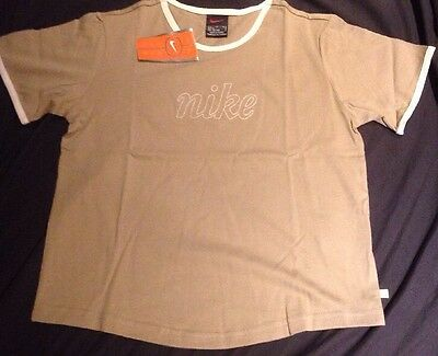 New Nike Girls T-shirt Top Size L Large 152-158 cm, 12-14 Age Cotton Beige VTG
