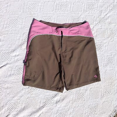 Ladies Pink And Mushroon Nike  Size 12 Board Beach Surf Shorts Size 12