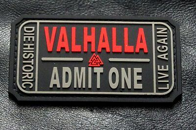 Ticket to Valhalla Admit One Vikings Mad Max PVC Rubber Morale Hook Patch (YN2)