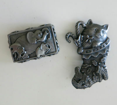"""Vintage Elephant And Puss In Boot Pin & Earrings One Signed """"torino"""""""