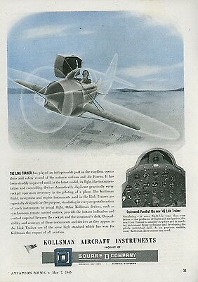 1945 Kollsman Aircraft Instruments Ad Link Trainer Military Cockpit Panel