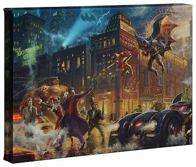 Thomas Kinkade DC The Dark Knight Saves Gotham City 10 x 14 Gallery Wrap Canvas