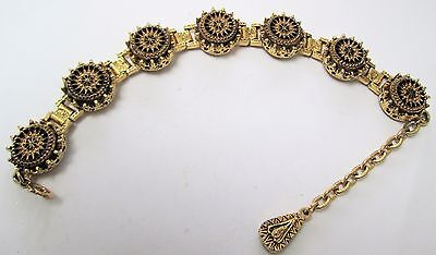 Stunning vintage ornate French jet & gold metal Victorian design bracelet